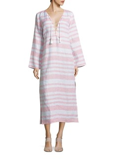 Saks Fifth Avenue BLUE Striped Linen Dress