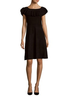 Saks Fifth Avenue Boatneck Ruffled A-Line Dress