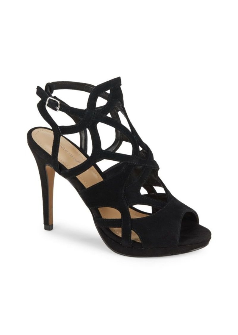 Saks Fifth Avenue Cage-Design Leather Stiletto Sandals