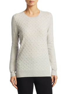 Saks Fifth Avenue COLLECTION Cashmere Pearl Embellished Crewneck Sweater