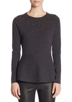 Saks Fifth Avenue COLLECTION Cashmere Pearl Trim Peplum Sweater