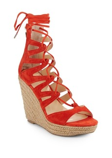 Saks Fifth Avenue Chelsea Suede Lace-Up Espadrille Wedges