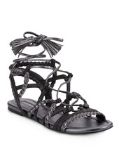 BCBG Max Azria BCBGMAXAZRIA Finlyn Metallic Leather Lace-Up Sandals