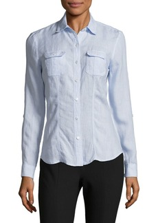 Saks Fifth Avenue Classic Linen Roll Tab Shirt