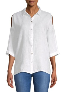 Saks Fifth Avenue Cold-Shoulder Linen Blouse