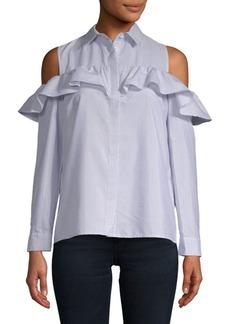 Saks Fifth Avenue Cold-Shoulder Stripe Shirt