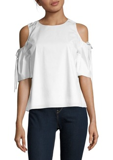 Saks Fifth Avenue Cold-Shoulder Tie-Sleeve Blouse