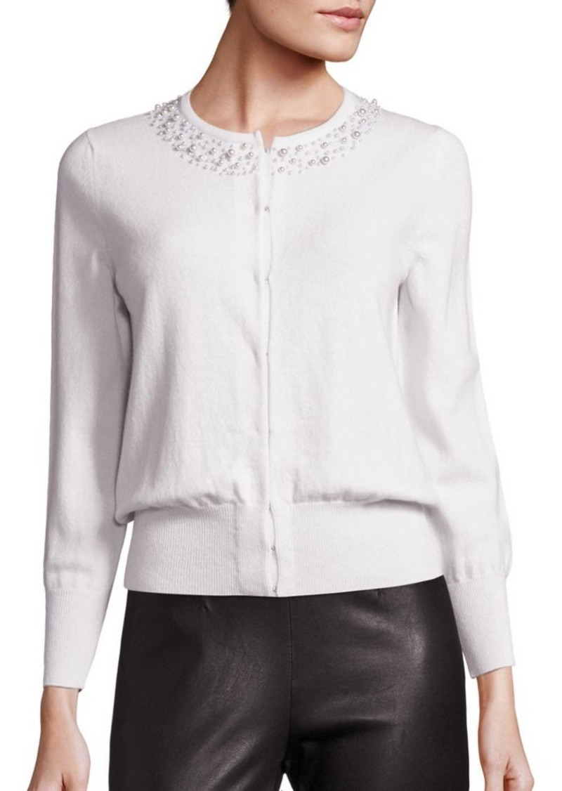 Saks Fifth Avenue COLLECTION Pearl Trim Cardigan
