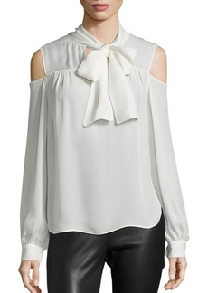 Saks Fifth Avenue Cold-Shoulder Tie-Neck Blouse