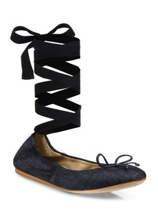 Denim Ankle-Wrap Ballet Flats