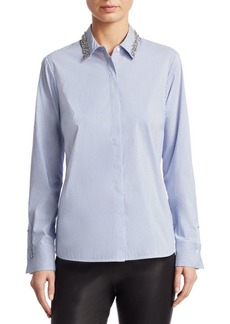 Saks Fifth Avenue COLLECTION Embellished Collar Poplin Shirt