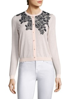Saks Fifth Avenue Floral Embroidered Cardigan