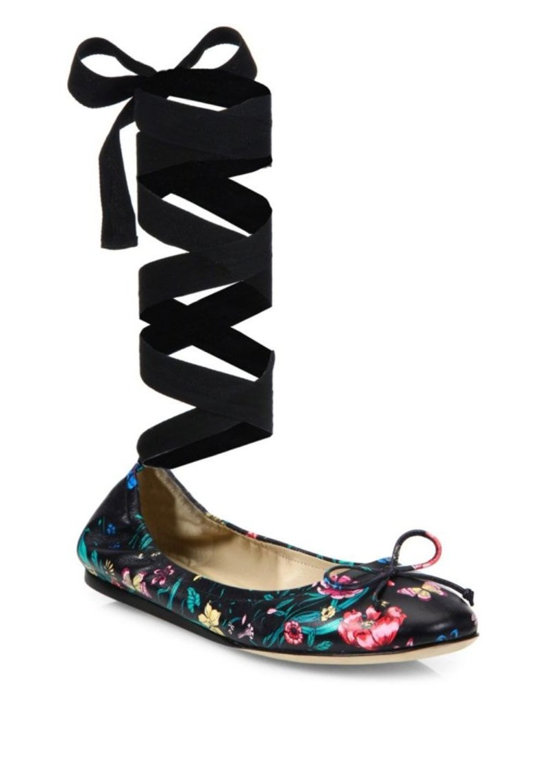 Saks Fifth Avenue Floral-Print Leather Ankle-Wrap Ballet Flats