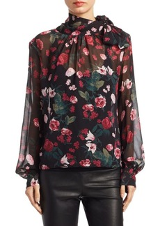 Saks Fifth Avenue Floral-Print Silk Neck Tie Blouse