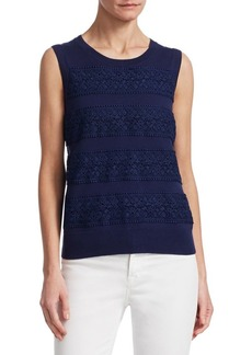 Saks Fifth Avenue COLLECTION Lace-Trim Crewneck Top