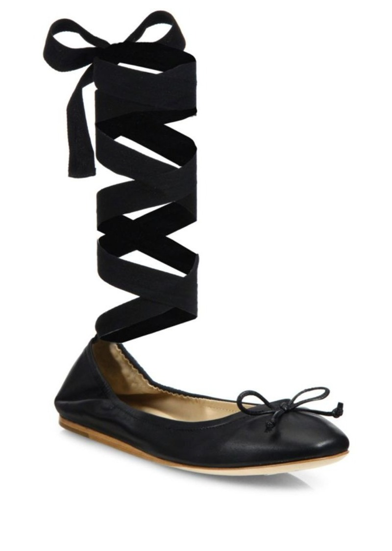 Saks Fifth Avenue Leather Ankle-Wrap Ballet Flats