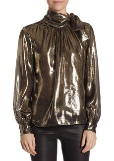 Saks Fifth Avenue Metallic Neck-Tie Blouse