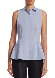 Saks Fifth Avenue COLLECTION Pinstripe Peplum Blouse