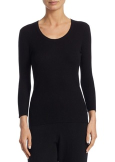 Saks Fifth Avenue COLLECTION Ribbed Cashmere Scoopneck Top