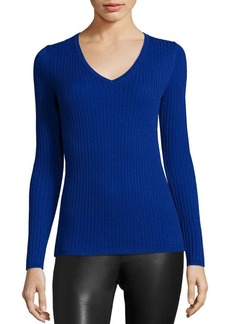 Saks Fifth Avenue Collection Ribbed Long Sleeve Cashmere Top
