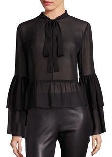 Collection Bell-Sleeve Silk Peplum Blouse