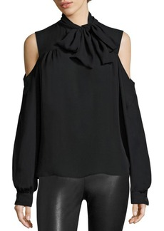 Saks Fifth Avenue COLLECTION Cold-Shoulder Tie-Neck Blouse