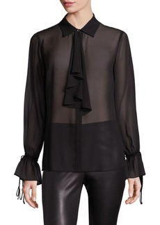 Saks Fifth Avenue Tie Neck Silk Blouse