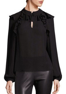 Saks Fifth Avenue Collection Silk Ruffle Blouse