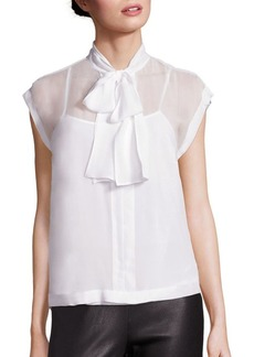 Saks Fifth Avenue Collection Silk Tie-Neck Blouse