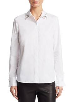 Saks Fifth Avenue COLLECTION Studded Collar Poplin Shirt