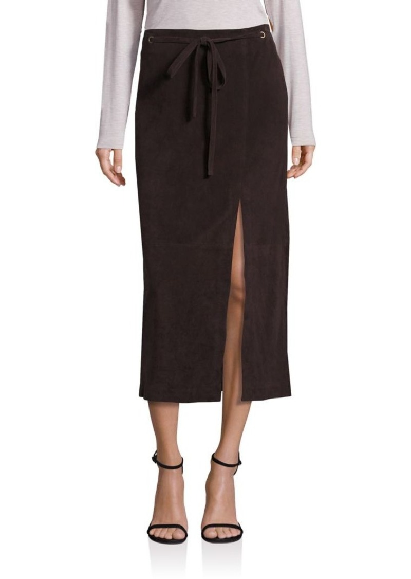 Saks Fifth Avenue Collection Suede Leather Drawstring Skirt
