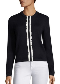 Saks Fifth Avenue COLLECTION Merino Cardigan With Ruffle
