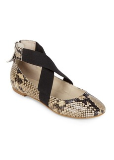 Saks Fifth Avenue Criss Cross Python Ballet Flats