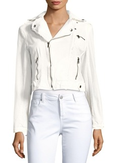 Saks Fifth Avenue BLUE Cropped Moto Jacket
