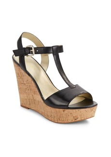 Saks Fifth Avenue Deville Leather Cork Wedge Sandals