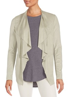 Saks Fifth Avenue BLUE Draped Faux Suede Jacket