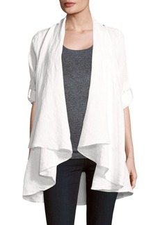 Saks Fifth Avenue Draped Open-Front Linen Jacket