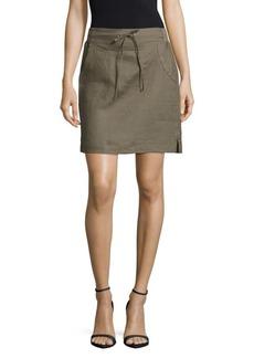 Saks Fifth Avenue BLUE Drawstring-Waist Linen Skirt