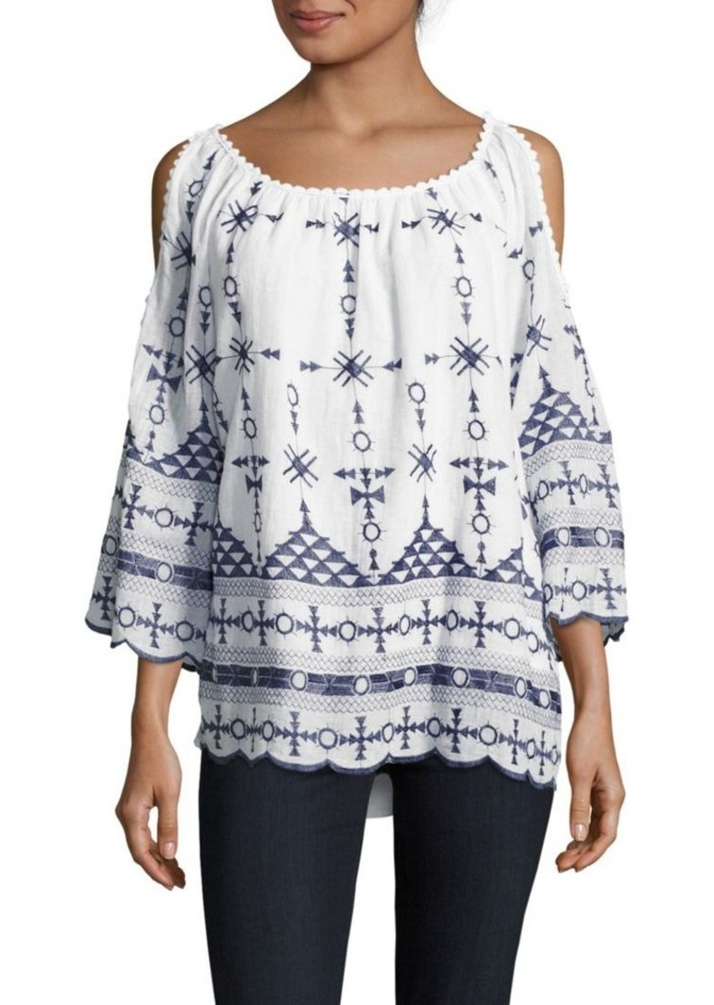 cc2d0faa75affc Saks Fifth Avenue Saks Fifth Avenue Embroidered Cold-Shoulder Top