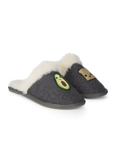Saks Fifth Avenue Embroidered Faux Fur Slippers