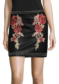 Saks Fifth Avenue Embroidered Floral Mini Skirt
