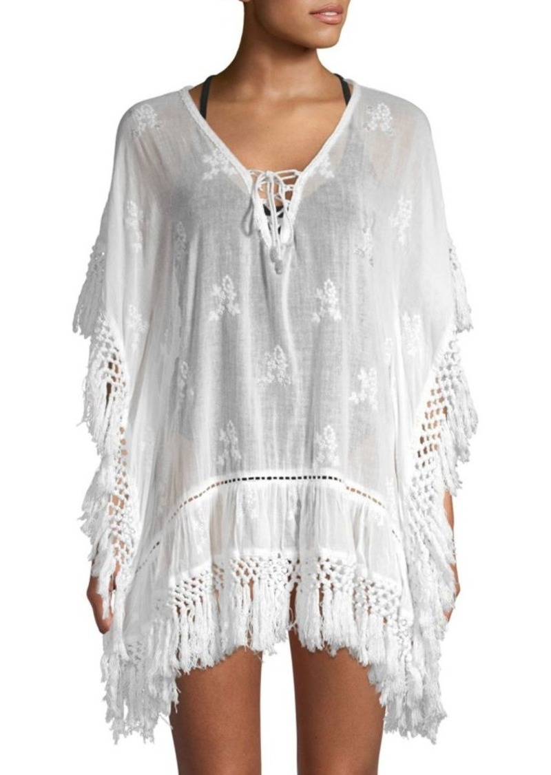 Saks Fifth Avenue Embroidered Fringe Cover-Up Dress