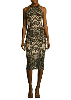 Saks Fifth Avenue Embroidered Halterneck Sheath Dress