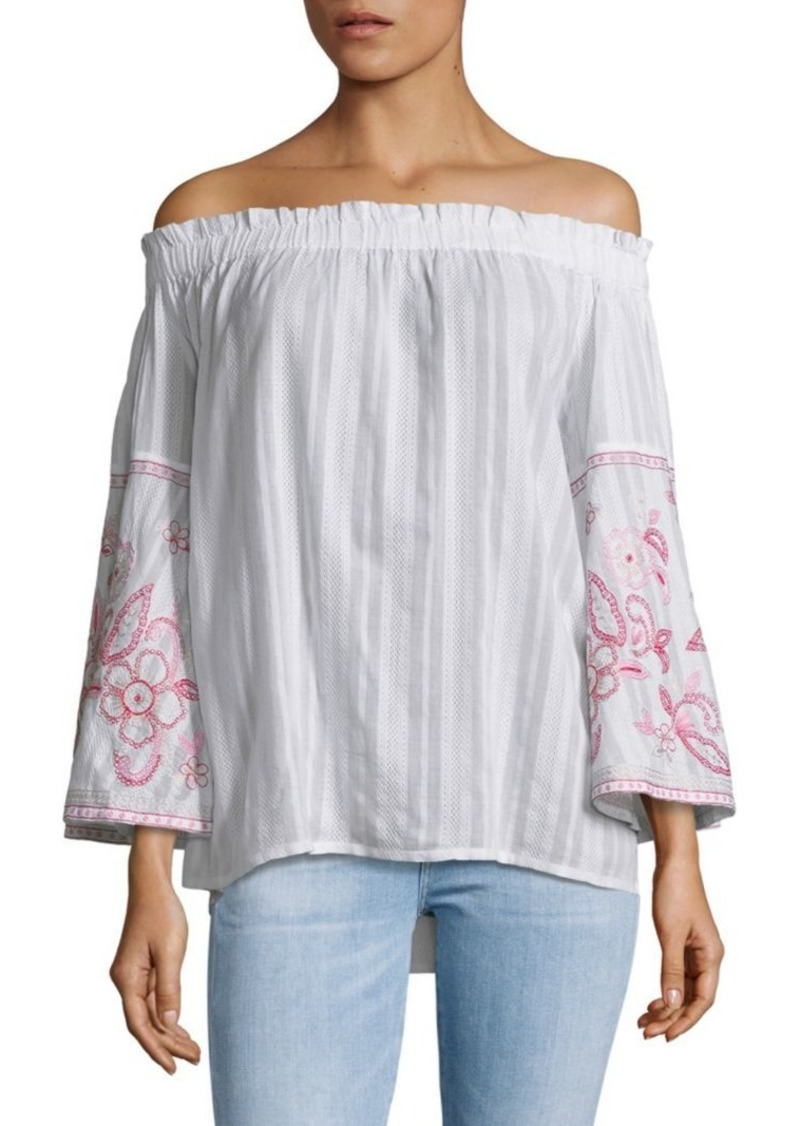 Saks Fifth Avenue Embroidered Off-The-Shoulder Cotton Top