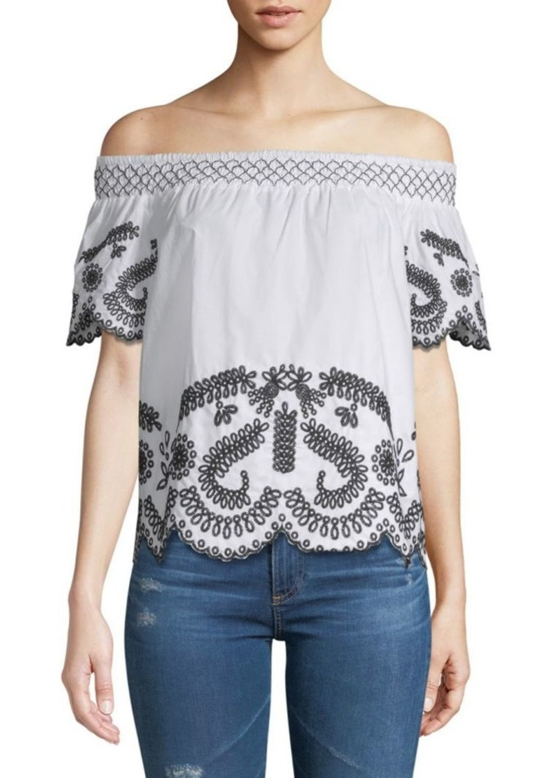 Saks Fifth Avenue Embroidered Off-The-Shoulder Top