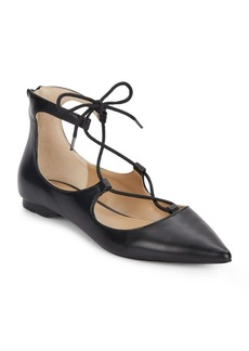 Saks Fifth Avenue Estyn Lace-Up Leather Point Toe Flats