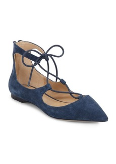 Saks Fifth Avenue Estyn Suede Lace-Up Point-Toe Flats