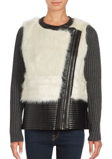 Saks Fifth Avenue Faux Fur Leather Jacket