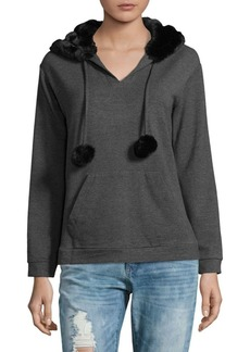 Saks Fifth Avenue Faux Fur Pullover Hoodie