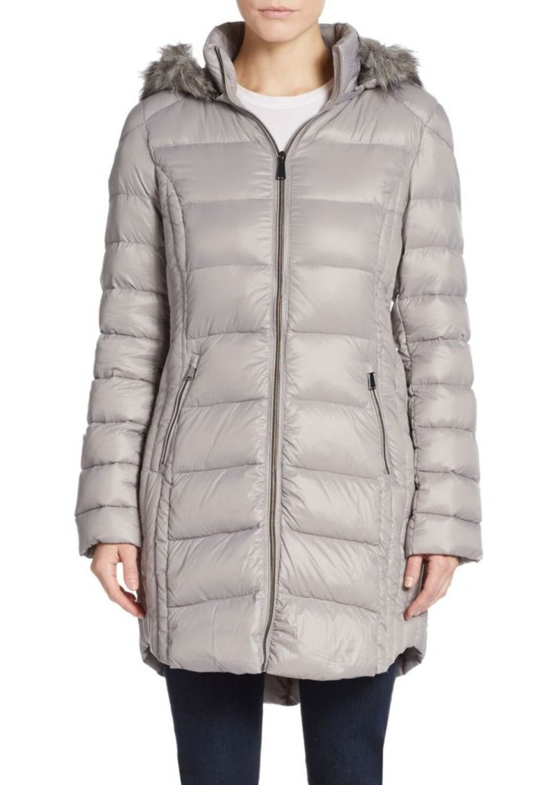 Saks Fifth Avenue Faux Fur-Trimmed Hooded Puffer Coat